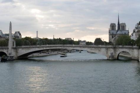 FILE PHOTO: A tour boat makes its way past the Notre Dame Cathedral on the Seine River in Paris